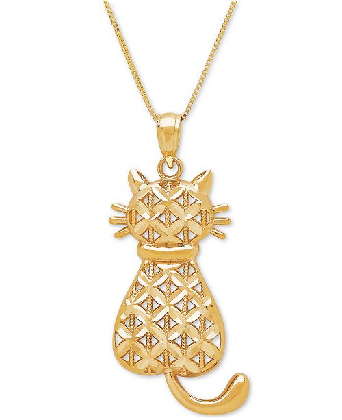 Macys textured backwards kitty cat pendant necklace in 14k gold main image aloadofball Choice Image