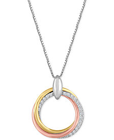 Diamond Weave Tri-Color Circle Pendant Necklace (1/10 ct. t.w.) in Sterling Silver and 14k Gold-Plate