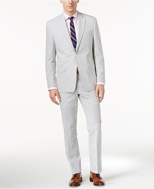 cdbef0141258 Lauren Ralph Lauren Men s Blue Seersucker Ultraflex Classic-Fit Suit ...