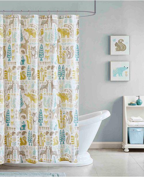 JLA Home Woodland Printed Cotton Shower Curtain