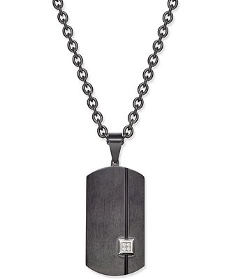 Sutton by Rhona Sutton Men's Black Stainless Steel Pavé Dog Tag Pendant Necklace