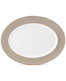 Waterford Lismore Diamond Gold Collection Oval Platter