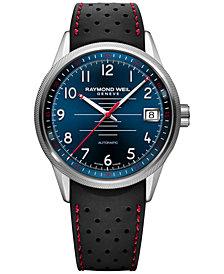 RAYMOND WEIL Men's Swiss Automatic Freelancer Dark Blue Rubber Strap Watch 42mm 2754-SR-05500