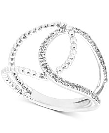 Wrapped™ Diamond Loop Ring (1/6 ct. t.w.) in 10k White Gold, Created for Macy's