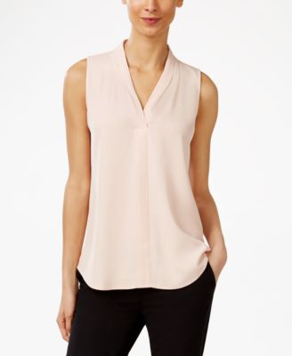 Image of Calvin Klein Pleated V-Neck Shell