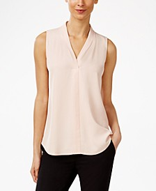 Pleated V-Neck Shell