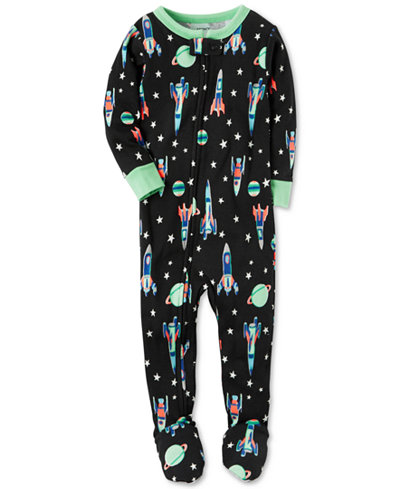 Carter's 1-Pc. Rocket-Print Footed Pajamas, Toddler Boys (2T-4T ...