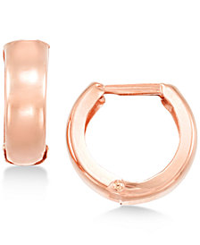 Polished Wide Hoop Earrings in 14k Gold, White Gold or Rose Gold