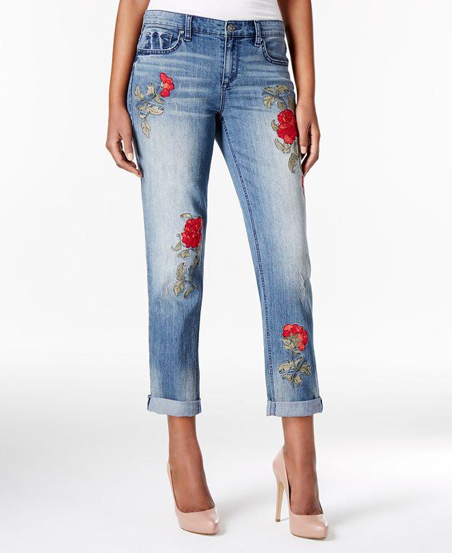 Vintage America Petite Embroidered Boyfriend Jeans