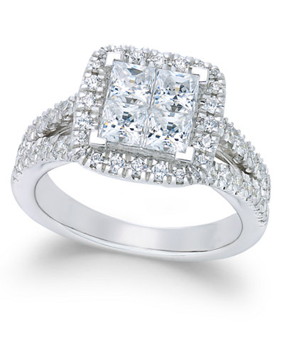 diamond square cluster engagement ring 2 15 ct tw in - Square Wedding Ring