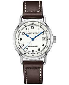 Hamilton Women's Swiss Automatic Khaki Navy Pioneer Brown Leather Strap Watch 36mm H78215553
