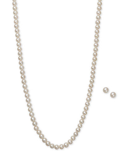 Cultured Freshwater Pearl (5mm) Necklace and Earring Set in Sterling Silver
