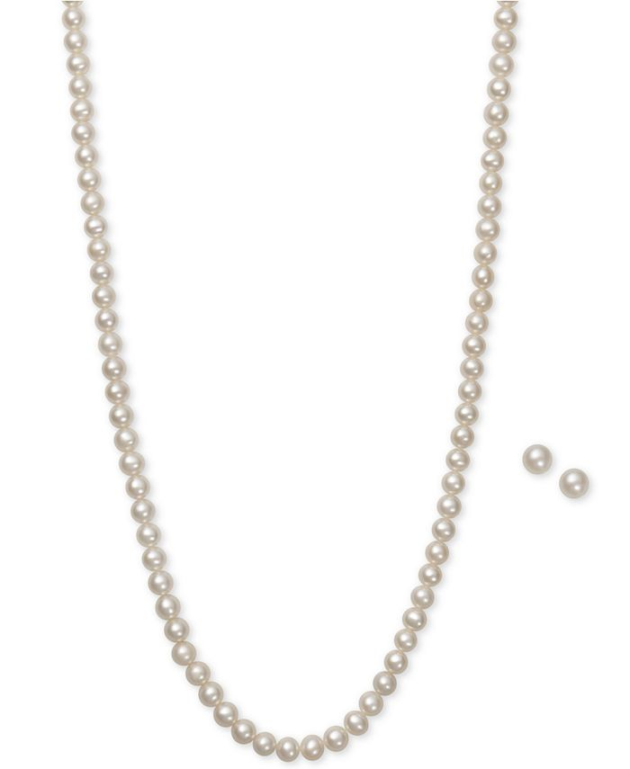 Macy's - Cultured Freshwater Pearl (5mm) Necklace and Earring Set