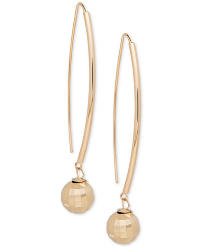 Textured Ball Threader Earrings in 14k Gold