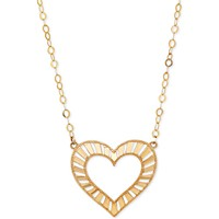 Deals on Italian Gold Decorative Heart Pendant Necklace in 10k Gold
