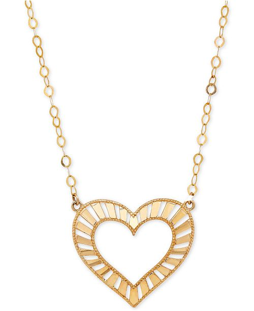 Italian Gold Decorative Heart Pendant Necklace in 10k Gold