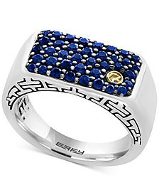 EFFY® Men's Sapphire Ring (1-3/8 ct. t.w.) in Sterling Silver and 18k Gold