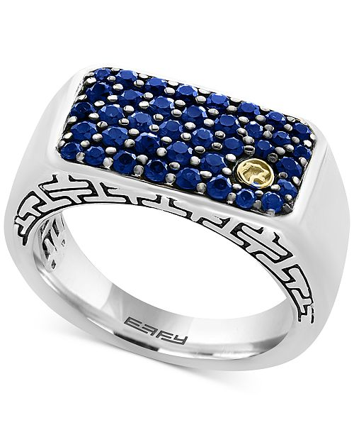 Effy Collection Effy Men S Sapphire Ring 1 3 8 Ct T W In Sterling Silver And 18k Gold Reviews Rings Jewelry Watches Macy S,Creative High School Shirt Designs