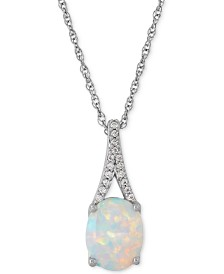 Lab-Created Opal (1 ct. t.w.) and White Sapphire Accent Pendant Necklace in Sterling Silver