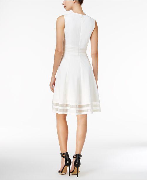 e8fc0ab16bf Calvin Klein Illusion-Trim Fit   Flare Dress   Reviews - Dresses ...