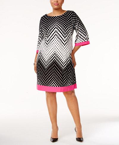 Sandra Darren Plus Size Geo-Print Shift Dress