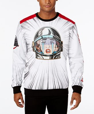 Black Pyramid Men's Crying Astronaut Graphic-Print Sweatshirt