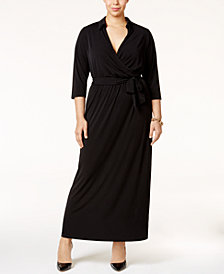 NY Collection Plus Size Faux-Wrap Maxi Dress