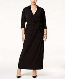 NY Collection Plus Size Faux-Wrap Maxi Dress