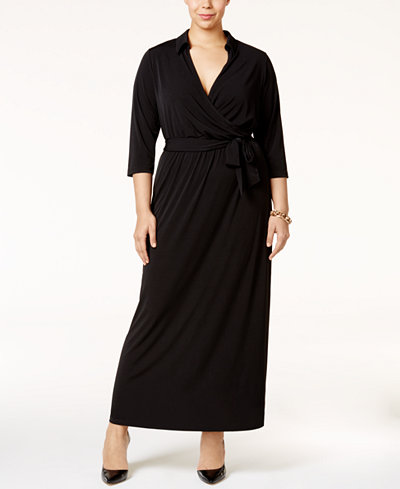 NY Collection Plus Size Faux-Wrap Maxi Dress - Dresses - Plus ...