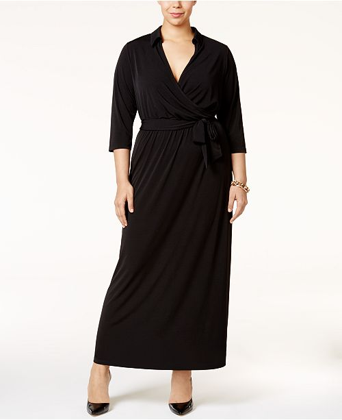2cfe69781ab NY Collection Plus Size Faux-Wrap Maxi Dress   Reviews - Dresses ...