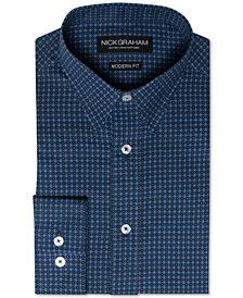 Nick Graham Men's Modern Fitted Flower Dot Dress Shirt