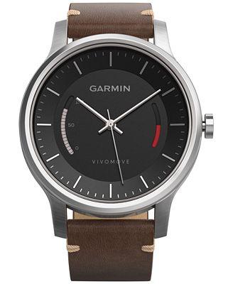 Garmin Unisex V�vomove Premium Brown Leather Strap Activity Tracking Smart Watch 42mm 010-01597-22