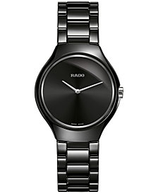 Rado Women's Swiss True Thin Black Ceramic Bracelet Watch 30mm R27742192