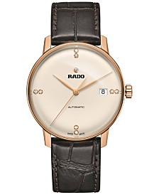 Rado Men's Swiss Automatic Coupole Classic Diamond Accent Brown Leather Strap Watch 37mm R22861765