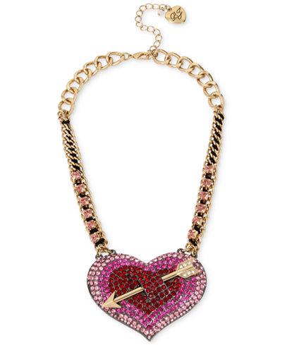 Betsey Johnson Gold-Tone Pav� Heart Arrow Statement Necklace