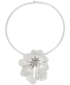 Silver-Tone Sculptural Flower Pendant Collar Necklace