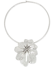 Robert Lee Morris Soho Silver-Tone Sculptural Flower Pendant Collar Necklace