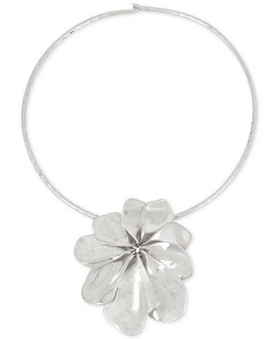 Robert Lee Morris Soho Silver-Tone Sculptural Flower Pendant Collar Necklace