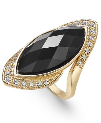 INC International Concepts Gold-Tone Crystal Black Stone Ring, Only at Macy's