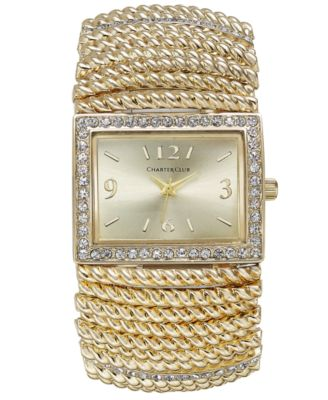 Image of Charter Club Gold-Tone Stretch Bracelet Watch 30x34mm, Only at Macy's