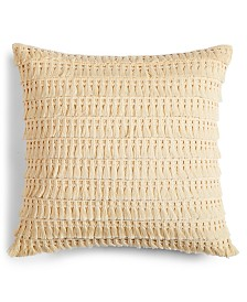 "CLOSEOUT! Whim by Martha Stewart  Collection Fringe Benefits 18"" Square Decorative Pillow, Created for Macy's"