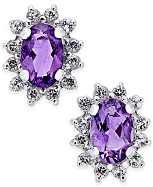 Amethyst (7/8 ct. t.w.) and White Topaz (1/4 ct. t.w.) Stud Earrings in 10k White Gold