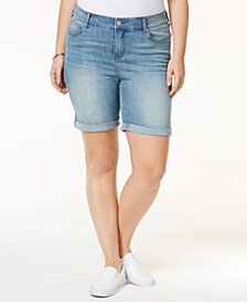 Plus Size  Denim Bermuda Shorts