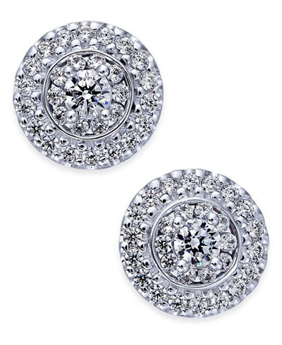 Diamond Round Cluster Stud Earrings (7/8 ct. t.w.) in 14k White Gold