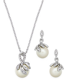 Charter Club Silver-Tone Pavé Imitation Pearl Pendant Necklace and Matching Drop Earrings Set, Created for Macy's
