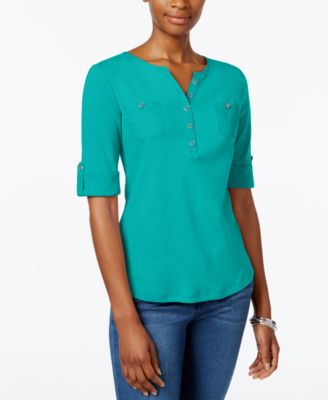 Image of Karen Scott Henley Roll-Tab Top, Only at Macy's