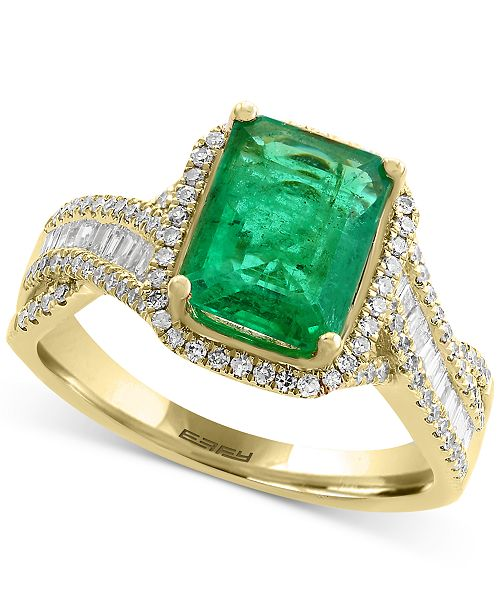 EFFY Collection EFFY® Brasilica Emerald (2-1/5 ct. t.w.) and Diamond (1/2 ct. t.w.) Ring in 14k Gold