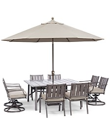 "Wayland Outdoor Aluminum 9-Pc. Dining Set (64"" Square Dining Table, 4 Dining Chairs & 4 Swivel Chairs) with Sunbrella® Cushions, Created for Macy's"