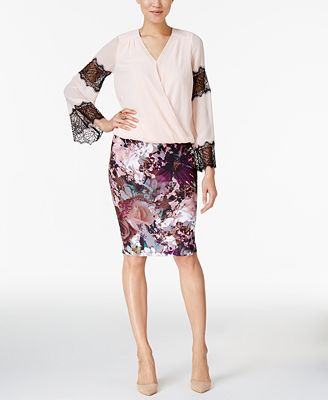 Thalia Sodi Lace-Trim Blouson Top & Pencil Skirt, Only at Macy's