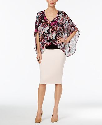 Thalia Sodi Printed-Overlay Necklace Top & Pencil Skirt, Only at Macy's